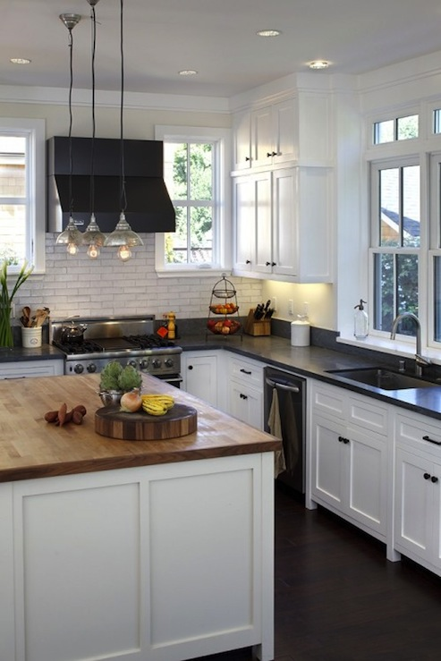 Honed black tops design ideas - White kitchen dark counters ...
