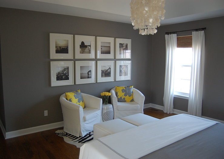 Yellow and Gray bedroom Contemporary bedroom