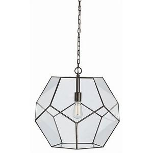 Tenley Large Bronze Iron And Glass Faceted Pendant by Arteriors Tenley Large Bronze Iron And Glass Faceted Pendant