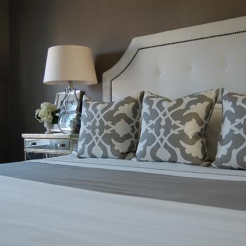 White tufted Headboard, Contemporary, bedroom, Benjamin Moore Galveston Gray
