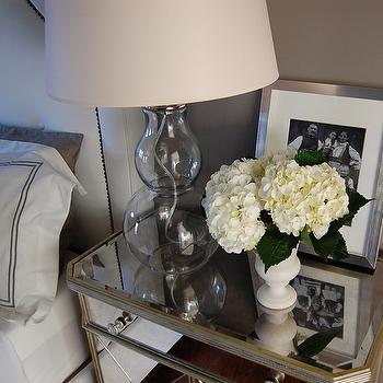 Mirror Nightstand, Contemporary, bedroom, Benjamin Moore Galveston Gray