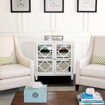Mirrored Quarefoil Cabinet, Transitional, living room, Behr Custom Antique White, AM Dolce Vita