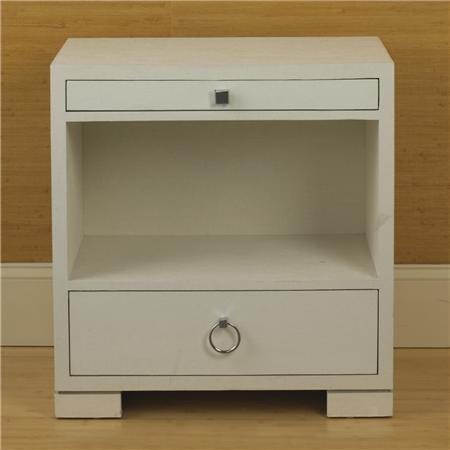 Superior White Grasscloth End Table   Shades Of Light