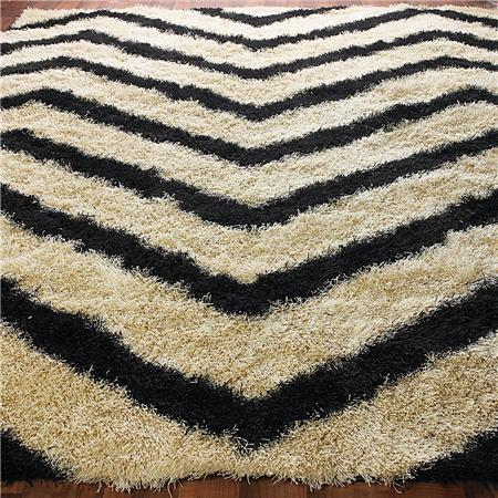 Black Chevron Stripe Shag Rug