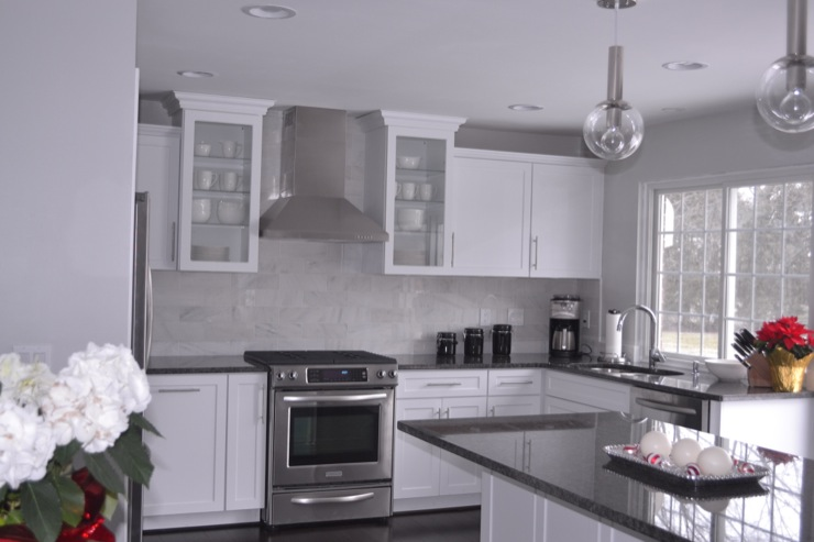 Kitchen Backsplash White Cabinets Gray Countertop steel gray granite design ideas
