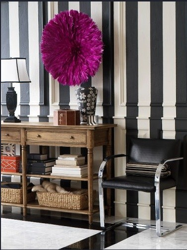 Black And White Striped Walls Eclectic Entrance Foyer