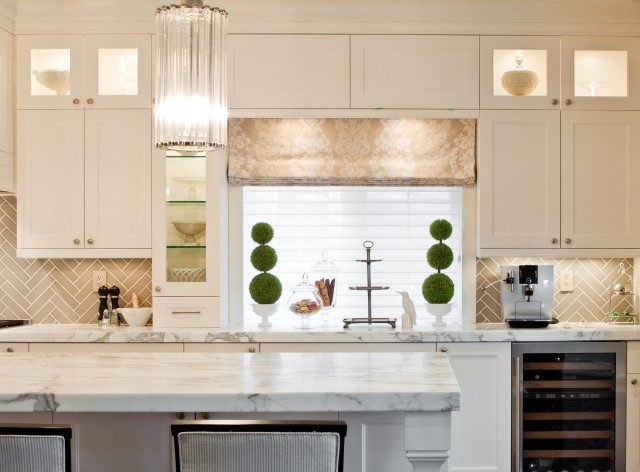 Gray Herringbone Backsplash
