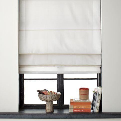 Solid roman shade west elm for Curtains that look like roman shades
