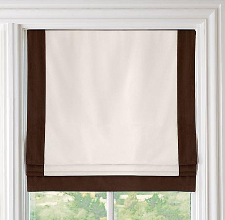 Bordered Cotton Canvas Cordless Roman Shade Roman Shades