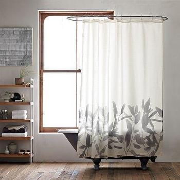 Washed Appliqued Fleur Pink Shower Curtain
