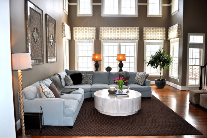 Living room for 2 story family room window treatments