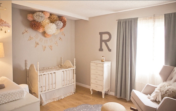 Gray Walls Transitional Nursery Glidden Smooth Stone