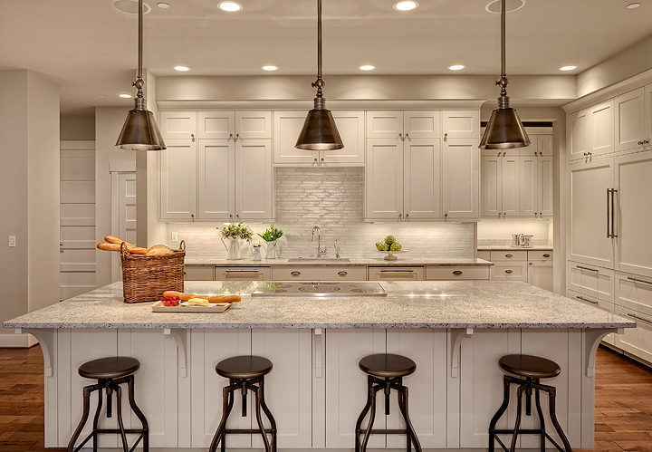 Fantastic Kitchen Design With Crate U0026 Barrel Turner Counter Stools, Hudson  Valley 9911 Darien 1 Light Mini Pendants In Historic Nickel Finish, Creamy  White ...