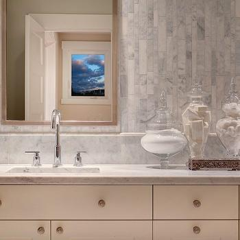 Linear Marble Tiles- Contemporary, bathroom, Studio 212 Interiors
