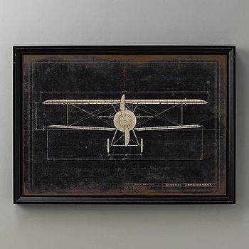 Model G Airplane Blueprint, Wall Art, Restoration Hardware Baby & Child