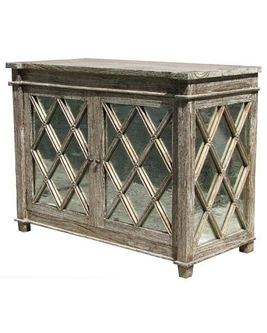 Alice Lane Home Collection Antique Glass Chest Mindi Wood Grey Wash