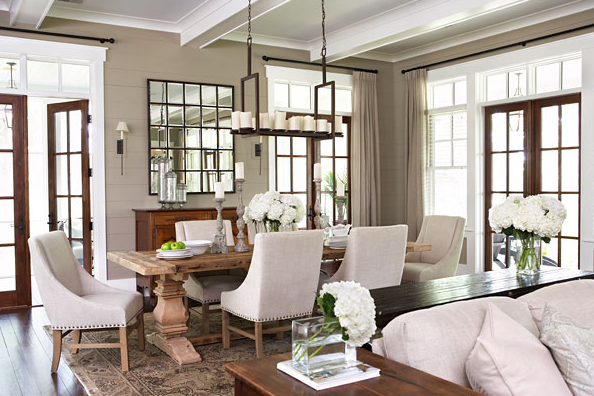 Beautiful Dining Room With Glossy White Wood Beams Restoration Hardware Trestle Salvaged Extension Table Nailhead