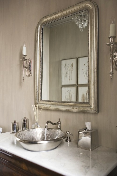 Eloquence louis philippe silver mirror french bathroom for Grey silver bathroom accessories