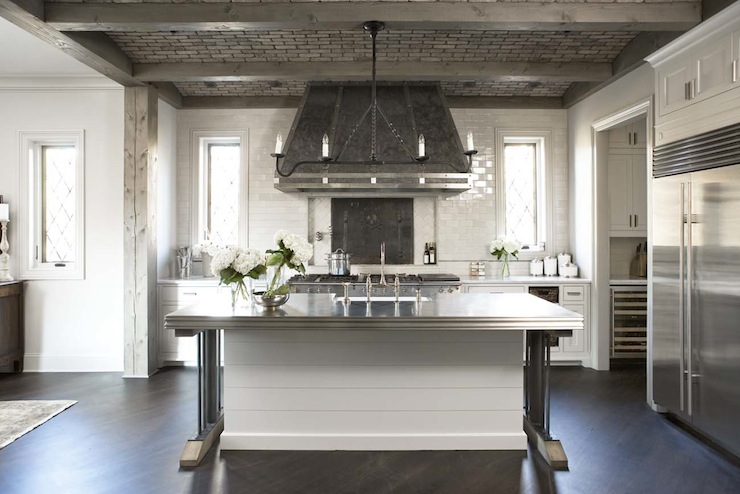 Linear iron chandelier transitional kitchen linda for Kitchen zinc design