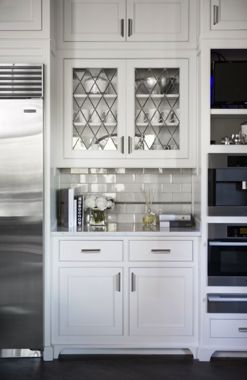 Leaded glass cabinet doors transitional kitchen for Glass kitchen cabinet doors