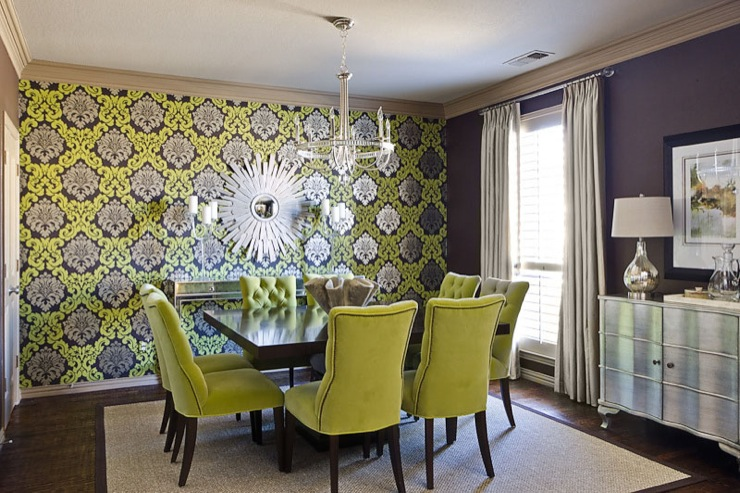 Chartreuse Chairs Contemporary Dining Room Ej Interiors