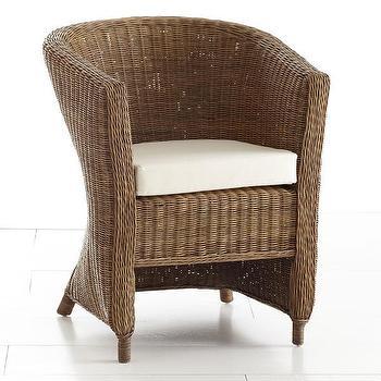 Wicker Arm Chair, Natural, Chair, Wisteria