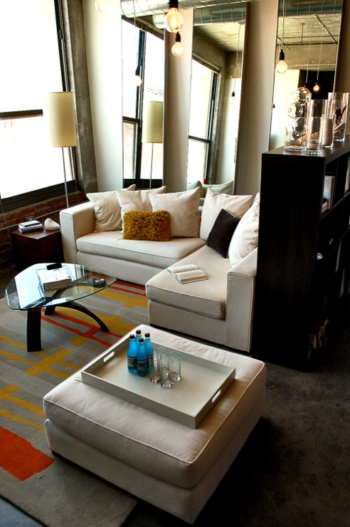 Loft Living Room, Contemporary, living room, Behr Ultra Pure White