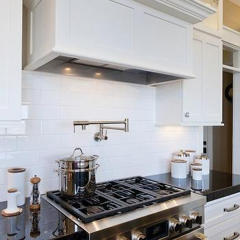 Glossy White Subway Tile Backsplash Design Ideas