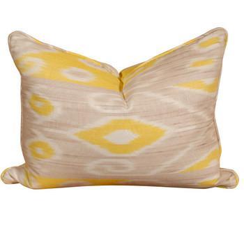 Yellow & Taupe Ikat Pillow, Pieces