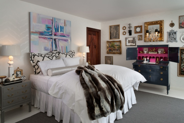 Lacuered desk eclectic bedroom donna benedetto designs for Eclectic bedroom designs