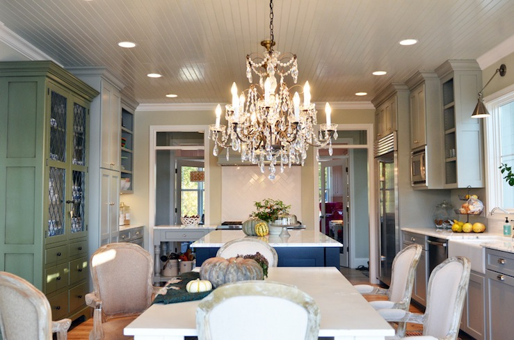 Gray Beadboard Ceiling French Kitchen Benjamin Moore Hazy Skies Life In Grace