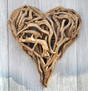 Driftwood heart 2 sizes by sugarboo designs modern chic home for Wooden heart wall decor