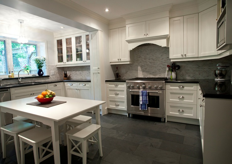 Delectable White Kitchen Cabinets Slate Floor Gallery White Dining Table And Stools Transitional Kitchen Designer