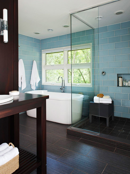 Blue glass subway tiles contemporary bathroom bhg for Blue tile bathroom ideas