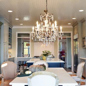 Gray Beadboard Ceiling, French, kitchen, Benjamin Moore Hazy Skies, Life in Grace