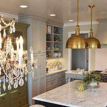 Brass Pendants, French, kitchen, Benjamin Moore Hazy Skies, Life in Grace