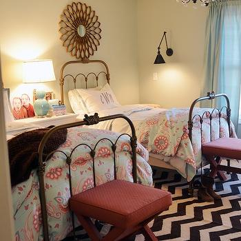 Layla Grayce Painted Vintage Jane Iron Bed, Transitional, girl's room, Sherwin Williams Sea Salt, Life in Grace