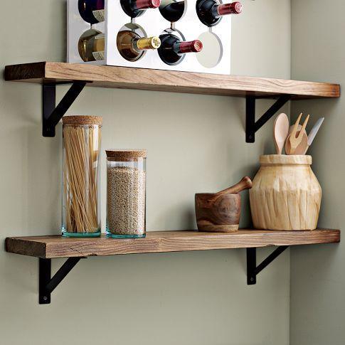 Salvaged wood shelf west elm for Repisas rusticas para cocina
