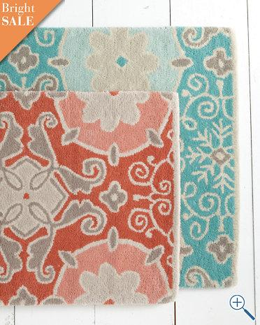 Floral Mosaic Tufted Wool Rug Garnet Hill
