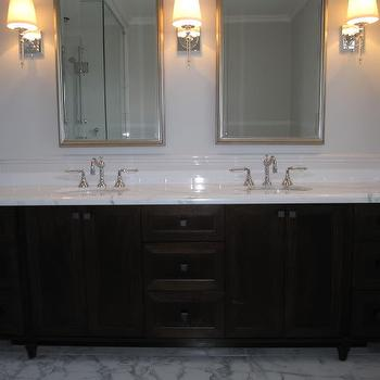 Dark Brown Double Vanity, Transitional, bathroom, Benjamin Moore Horizon, Redroze's Renos
