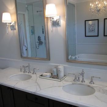 Gray Bathroom Paint, Transitional, bathroom, Benjamin Moore Horizon, Redroze's Renos