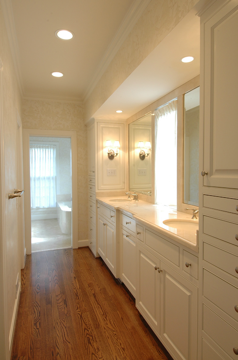Walk through closet transitional bathroom the wills for Small galley bathroom ideas