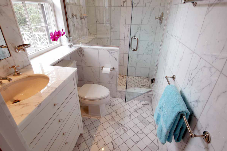 Small Marble Bathroom Transitional Bathroom The