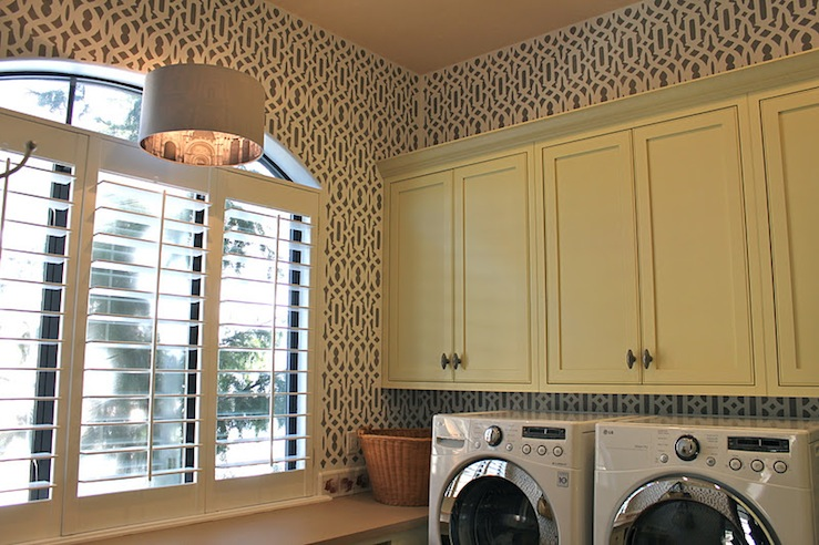 Trellis Stencils Contemporary Laundry Room The