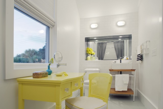 Yellow and gray bathroom design ideas Bright yellow wall paint