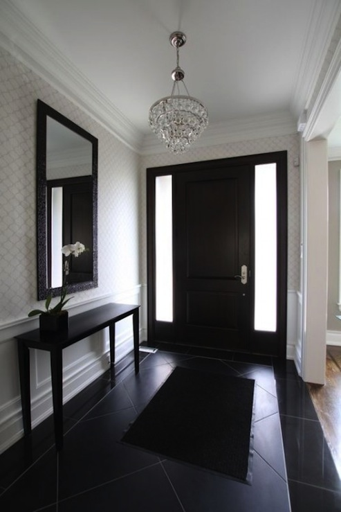 Foyer Trim Design : Bling chandelier transitional entrance foyer