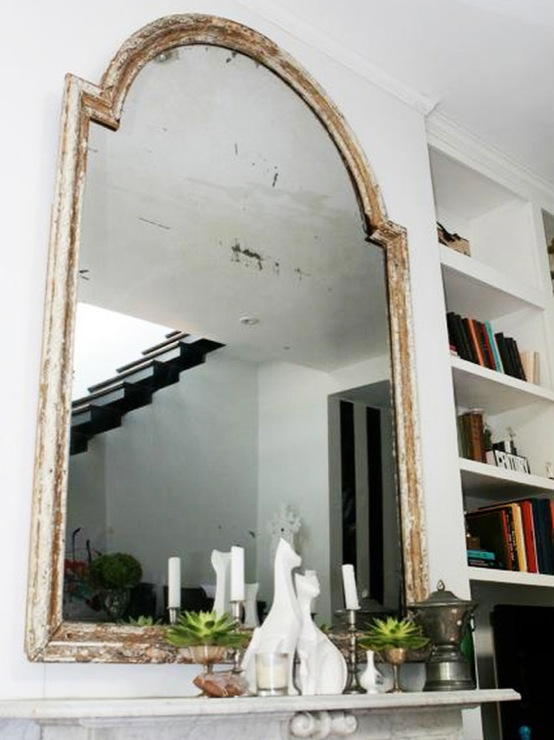 Whitewashed mirror eclectic living room for Living room mirrors
