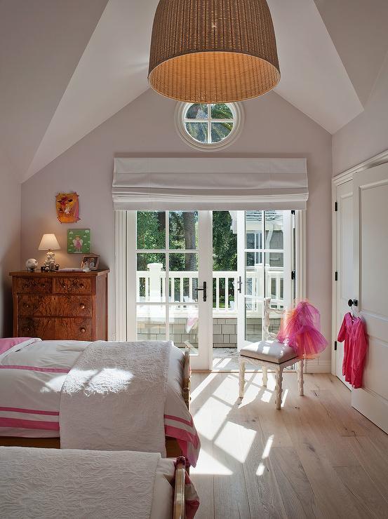 French doors roman shade eclectic girl 39 s room for Window design girl