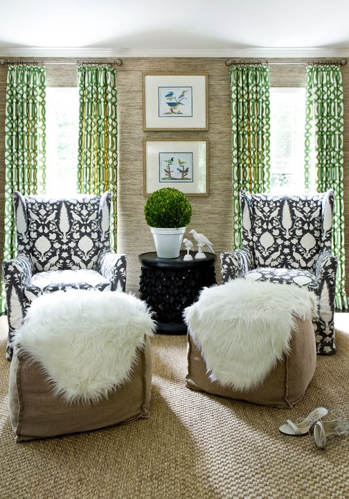 Green Curtains Contemporary living room Melanie Turner Interiors
