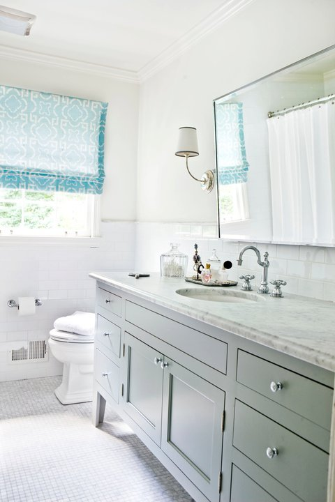 sunny gray and blue bathroom design with gray extra wide bathroom